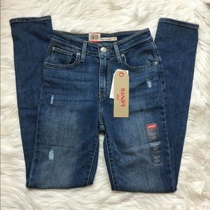NWT Levi's 721 High Rise Skinny Jeans Distressed